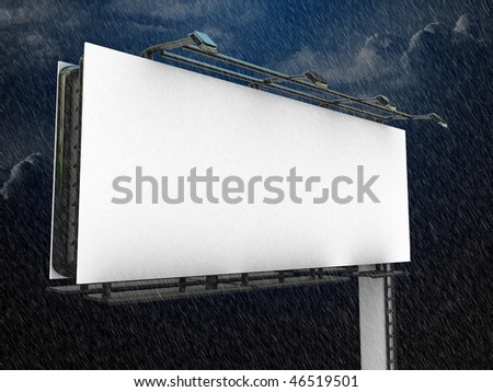 high res. billboard with rain effect - stock photo