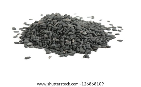 high-res  black sesame seeds isolated on a white background. Studio. Photo - stock photo