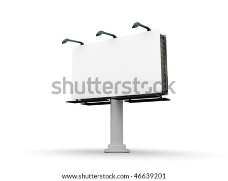 High res. blank big billboard with isolated-3d rendered - stock photo