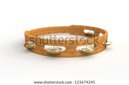 High-res 3d render of a wooden tambourine on a white background