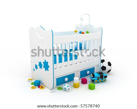 High res. 3d white crib with toys-for baby isolated - stock photo
