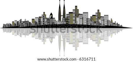 High Res Jpeg - Brightly lit modern city with reflections. - stock photo