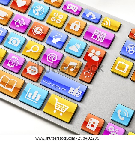 High res shoot of a Keyboard with all of it's keys substituted by app icons related to internet browsing, Social Networking, Media Sharing, and so on... - stock photo