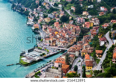 High resolution aerial view of the picturesque colorful Italian town Argegno by Lake Como. European vacation, living life style, architecture  and travel concept. - stock photo