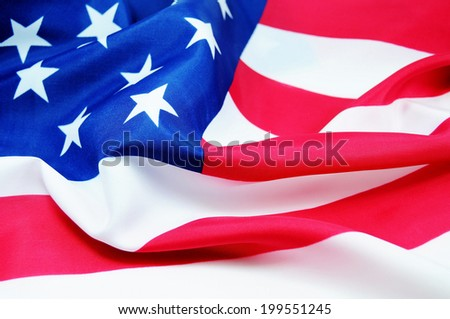 High resolution American flag in the wind - stock photo