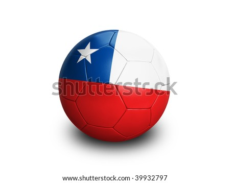 High resolution and highly detailed 3D rendering of a chilenian soccerball. With clipping path removes the soft shadow. This country qualified for the 2010 soccer world cup in South Africa. - stock photo