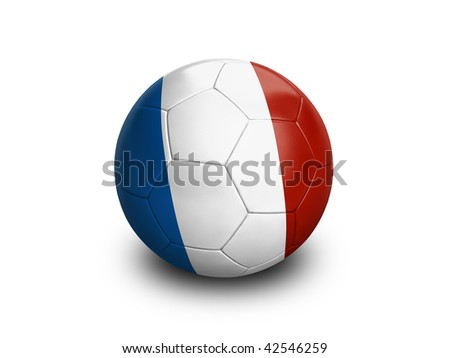 High resolution and highly detailed 3D rendering of a french soccer ball. With clipping path removes the soft shadow. This country qualified for the 2010 soccer world cup in South Africa.