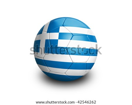 High resolution and highly detailed 3D rendering of a greek soccer ball. With clipping path removes the soft shadow. This country qualified for the 2010 soccer world cup in South Africa. - stock photo
