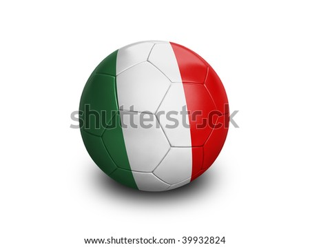 High resolution and highly detailed 3D rendering of a italian soccerball. With clipping path removes the soft shadow. This country qualified for the 2010 soccer world cup in South Africa. - stock photo