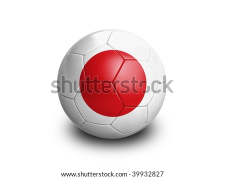 High resolution and highly detailed 3D rendering of a japanese soccerball. With clipping path removes the soft shadow. This country qualified for the 2010 soccer world cup in South Africa. - stock photo