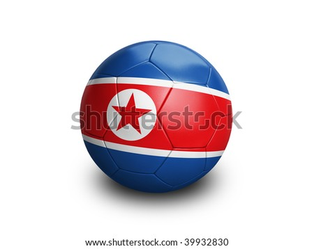 High resolution and highly detailed 3D rendering of a north korean soccerball. With clipping path removes the soft shadow. This country qualified for the 2010 soccer world cup in South Africa.