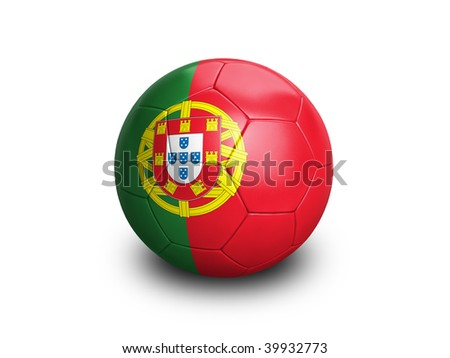 High resolution and highly detailed 3D rendering of a portuguese soccerball. With clipping path removes the soft shadow. This country qualified for the 2010 soccer world cup in South Africa. - stock photo