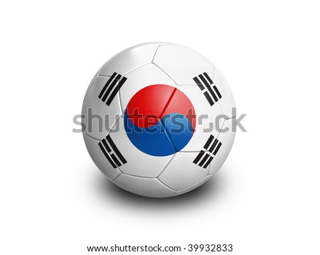 High resolution and highly detailed 3D rendering of a south korean soccerball. With clipping path removes the soft shadow. This country qualified for the 2010 soccer world cup in South Africa. - stock photo