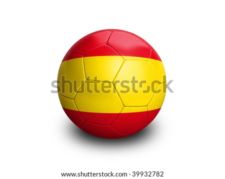 High resolution and highly detailed 3D rendering of a spanish soccerball. With clipping path removes the soft shadow. This country qualified for the 2010 soccer world cup in South Africa. - stock photo