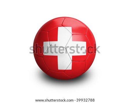 High resolution and highly detailed 3D rendering of a swiss soccerball. With clipping path removes the soft shadow. This country qualified for the 2010 soccer world cup in South Africa. - stock photo