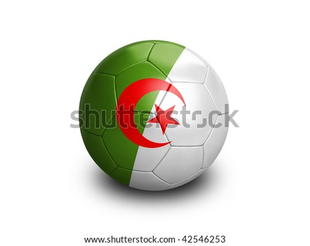 High resolution and highly detailed 3D rendering of an algerian soccer ball. With clipping path removes the soft shadow. This country qualified for the 2010 soccer world cup in South Africa. - stock photo