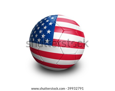 High resolution and highly detailed 3D rendering of an amercian soccerball. With clipping path removes the soft shadow. This country qualified for the 2010 soccer world cup in South Africa. - stock photo