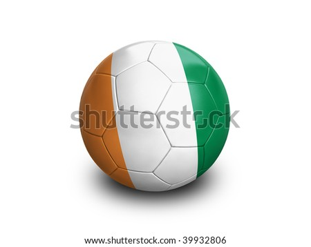 High resolution and highly detailed 3D rendering of an ivory coast soccerball. With clipping path removes the soft shadow. This country qualified for the 2010 soccer world cup in South Africa. - stock photo