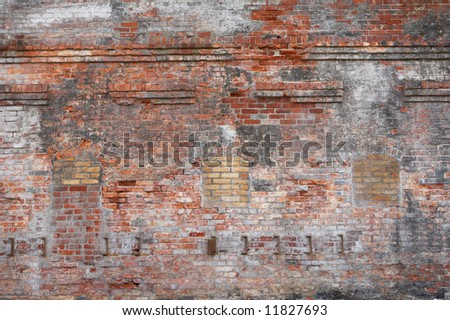 High resolution background of old colorful brick wall