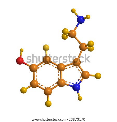 High Resolution Ball and Stick Model of Serotonin Molecule in Cheerful Colors - stock photo