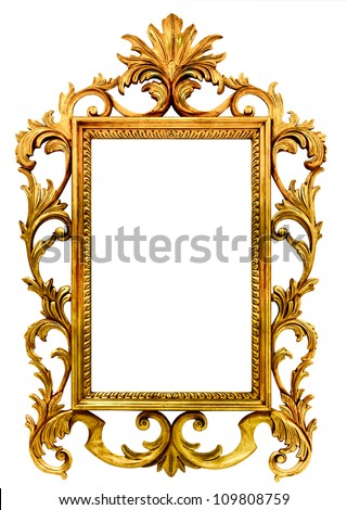 high resolution baroque style frame cutout on white isolated with working path, gold - stock photo