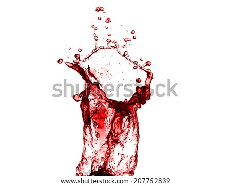 high resolution, beautiful red juice splash isolated on white background