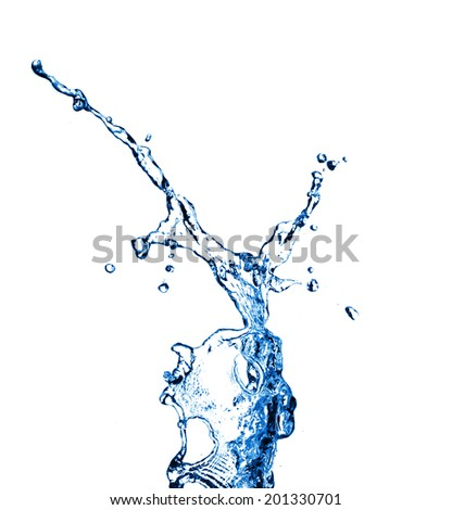 High resolution Beautiful splash of clean drinking water isolated on white background