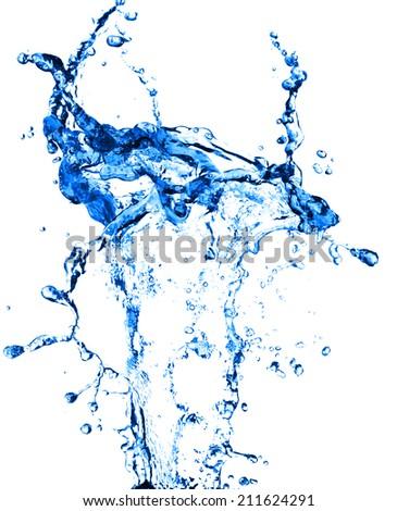 High resolution, beautiful splash of fresh, blue water. Isolated on white background - stock photo