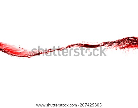 high resolution, beautiful wave of red wine isolated on white background.