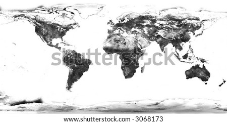 high resolution black and white world map with continents isolated - stock photo