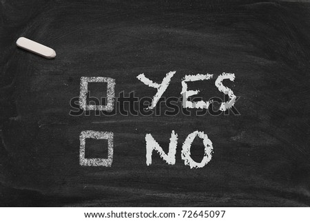 High resolution black chalkboard image with decision form. Conceptual image for decision or democracy themes. - stock photo