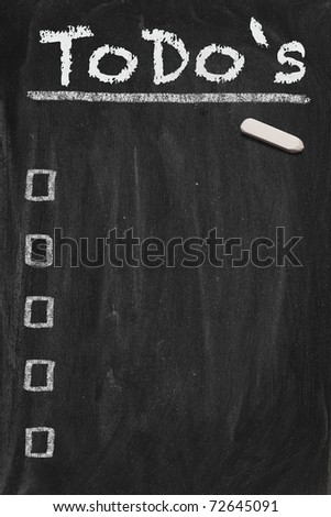 High resolution black chalkboard image with empty to do list. Conceptual illustration for managing the most important things. Copy space included. - stock photo