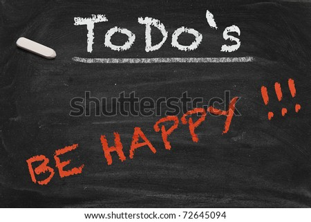 High resolution black chalkboard image with happiness as only thing on to do list. Conceptual illustration to focus on really important things. - stock photo