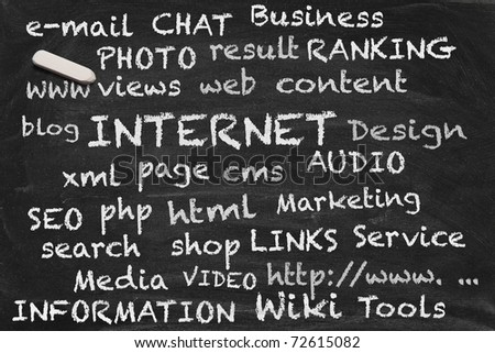 High resolution black chalkboard image with internet related tags. Illustration to demonstrate the variety of in web content and context. - stock photo