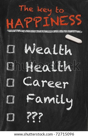 High resolution black chalkboard image with to do list for the quest to happiness. One missing point with question marks. Conceptual illustration for managing the most important things. - stock photo