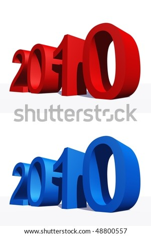 High resolution blue and red 3D 2010 year isolated on white background - stock photo