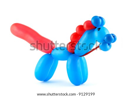 High resolution blue twisted balloon horse isolated on white