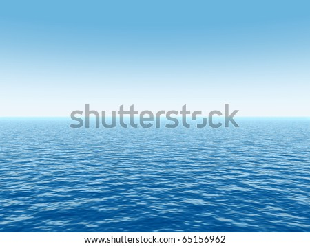 High resolution blue water and a clear sky - stock photo