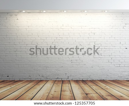 high resolution brick wall and brown floor - stock photo