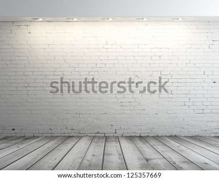 high resolution brick wall and gray floor - stock photo