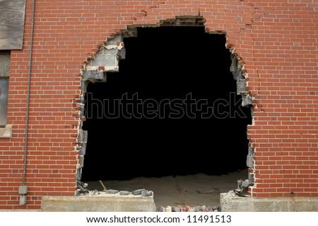 High resolution broken brick wall background - stock photo