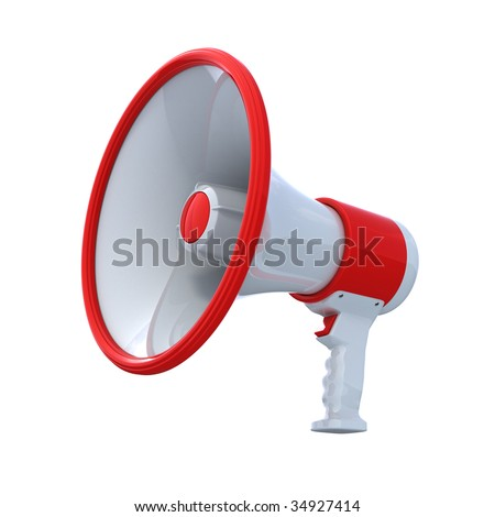 High Resolution bullhorn isolated on white , with clipping path , 3d render