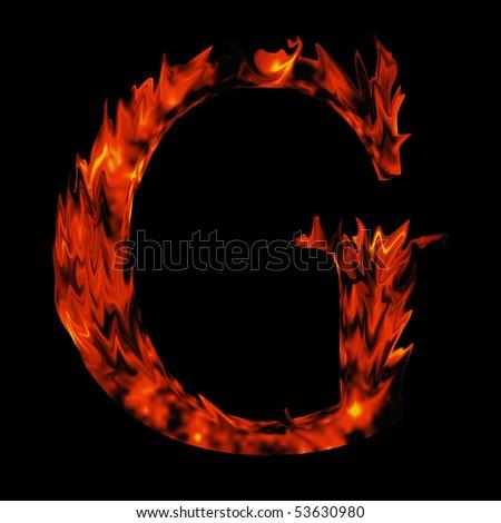 High resolution burning font isolated on black background - stock photo