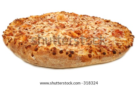 High Resolution cheese pizza over white.