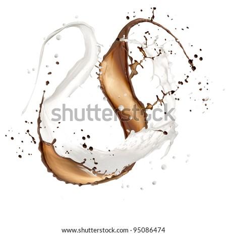 High resolution chocolate and milk splash, isolated on white background - stock photo
