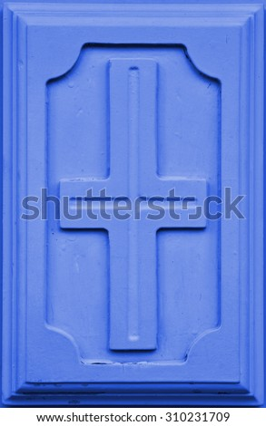 High resolution christian cross symbol in blue wooden background, ideal for religion, decoration or conceptual designs and patterns - stock photo