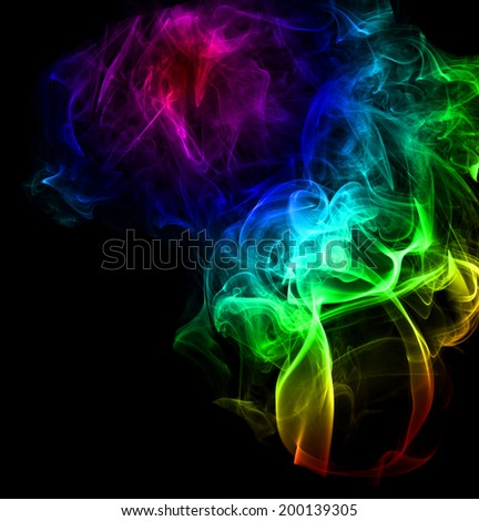 High resolution colored smoke isolated on black background - stock photo