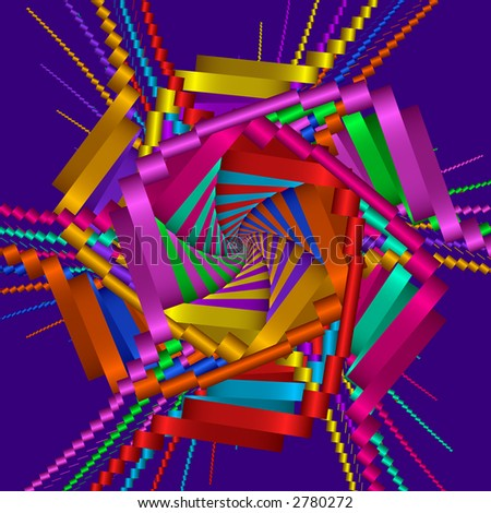 High resolution colorful fractal rendering of ribbons - stock photo