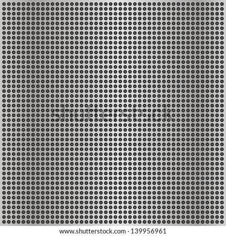 High resolution concept conceptual gray metal stainless steel aluminum perforated pattern texture mesh background as metaphor to industrial,abstract,technology,grid,silver,grate,spot,grille surface - stock photo