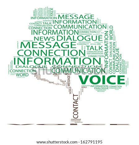 High resolution concept, conceptual green tree word cloud on white background, metaphor for communication,speech,message,mail,relation,dialog,talk,report,contact,stair, climb,email,internet wordcloud - stock photo